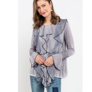 Contrast Lace Ruffle Detailed Top POL